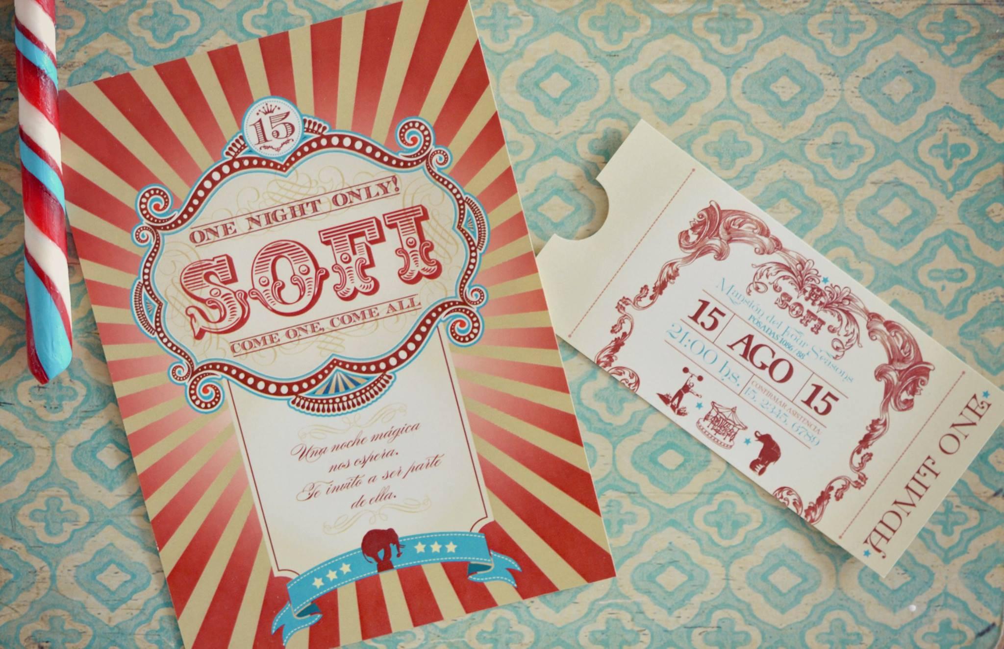 Una invitaci n de 15 estilo circo vintage tarjetas de 15 for Tematicas para 15 anos originales