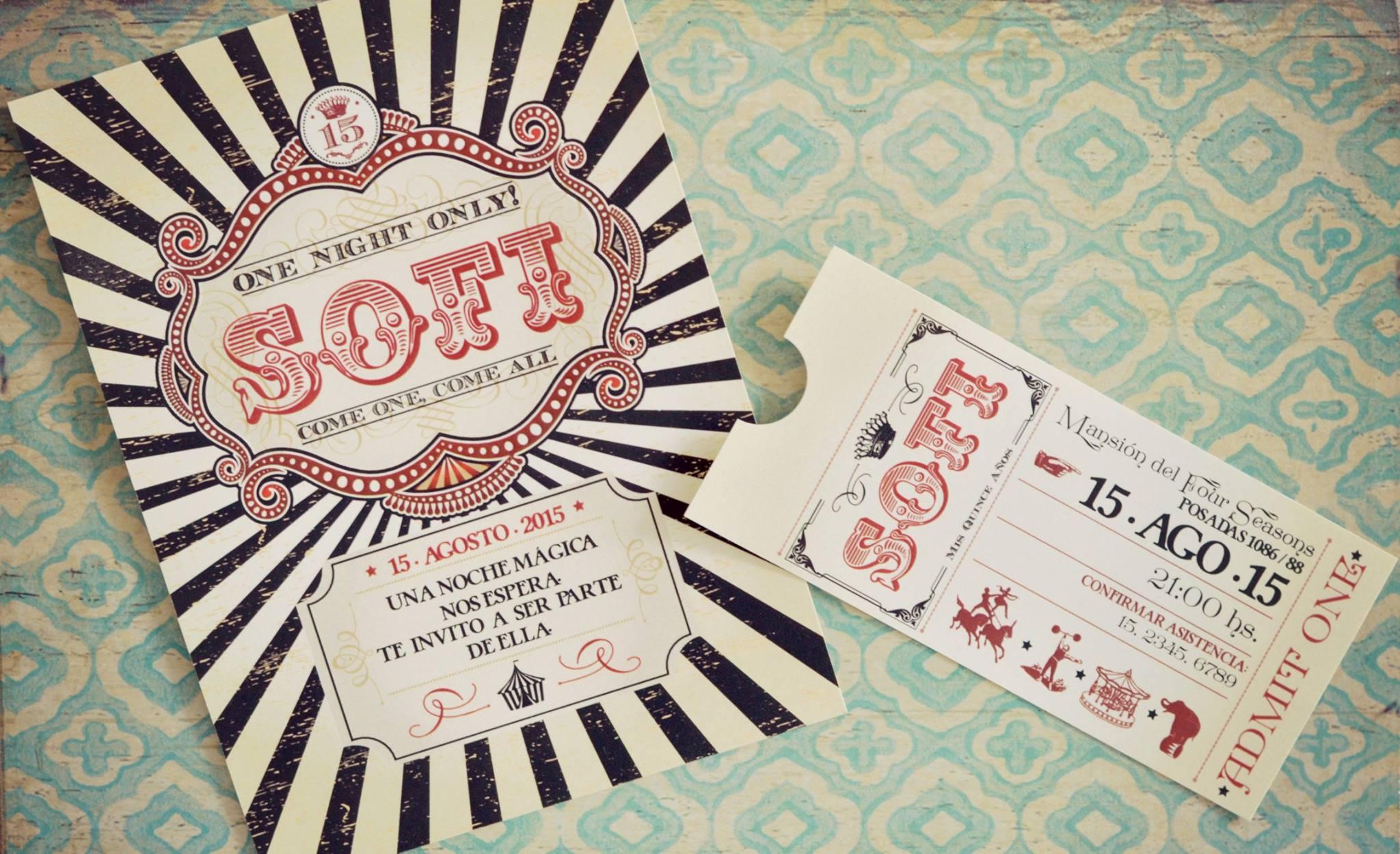 Una invitaci n de 15 estilo circo vintage tarjetas de 15 for Tarjetas de 15 anos vintage