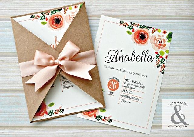 Tarjeta de 15 floral chic tarjetas de 15 for Tarjetas de 15 anos vintage